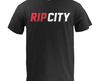 Rip City Red white - Black Cotton Tee