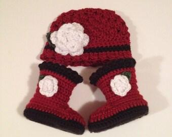 Crochet Baby Hat, Baby Booties, Set 0-3 Months