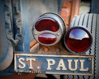St. Paul Oldie - Rustic Wall Art - Classic Car Art Prints - Retro Print - Vintage Car Photography - Garage Art - Tail Lights - 8x10