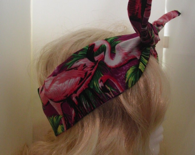 50s Vintage Purple Flamingo Head Scarf - With Wire/Not - Rockabilly Hair Tie Bird Blue Tropical Beach Kitsch Geek Chic Retro Sailor Pirate