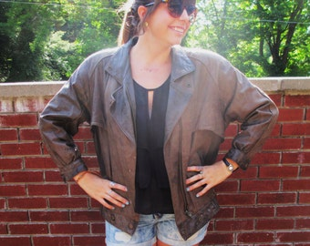Vintage Brown Leather Jacket- Worn In and Soft
