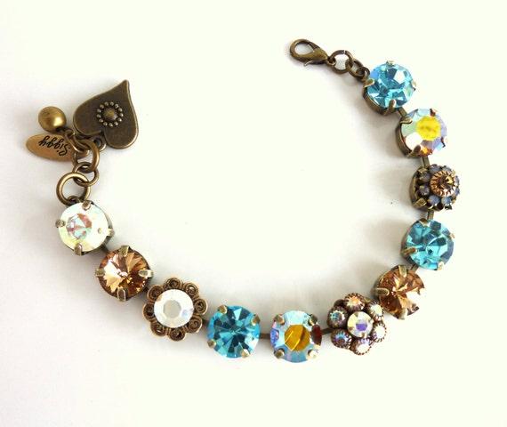 swarovski crystal tennis bracelet topaz aqua ab flower. Black Bedroom Furniture Sets. Home Design Ideas