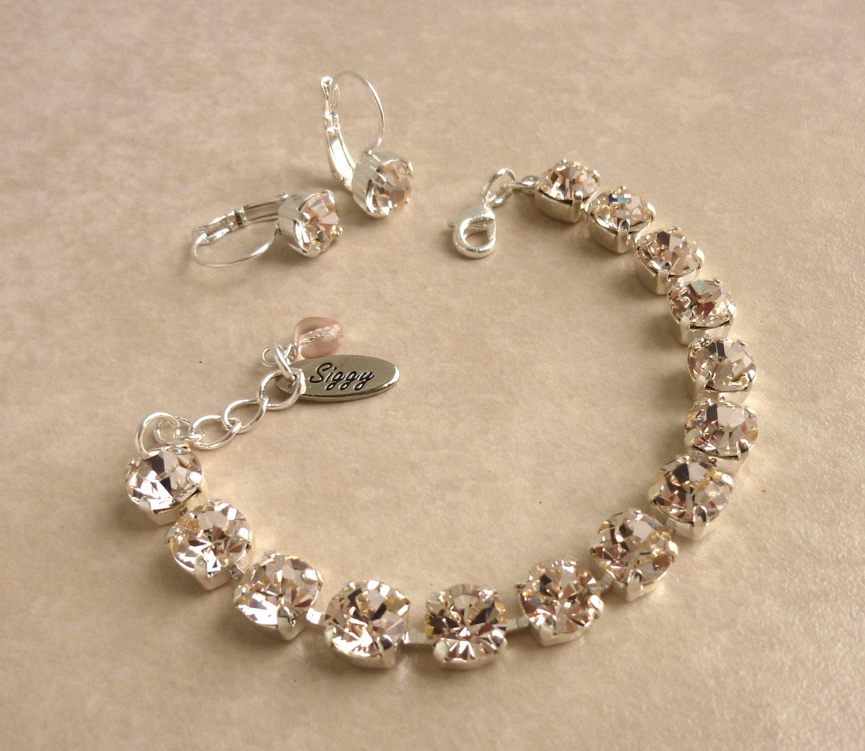 swarovski crystal tennis bracelet 8mm silk bridesmaids. Black Bedroom Furniture Sets. Home Design Ideas