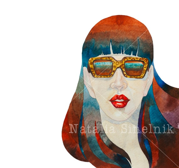Girl in retro sun glasses digital download from original watercolor fine art avatar or blue and brown tshirt design