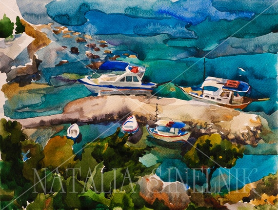 Turquoise harbour in Rhodes sea landscape digital download from original watercolor marina clipart navy illustration