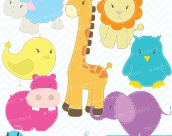zoo animals clipart commercial use, vector graphics, digital clip art, digital images  - CL449