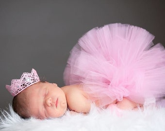 ULTIMATE PRECIOUS tutu set: Super fluffy Newborn tutu (half-filled) photo prop set with Vintage inspired crown collection