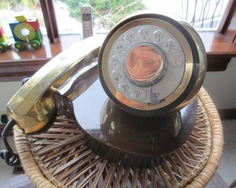 Retro Rotary Telephone very unusual gold ball shaped