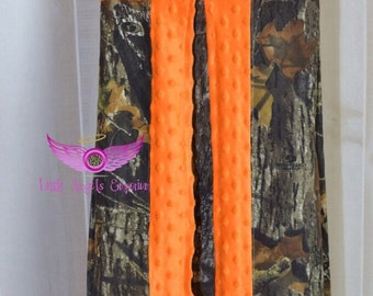 Mossy Oak Camo and Orange Minky Diaper Stacker- Holder