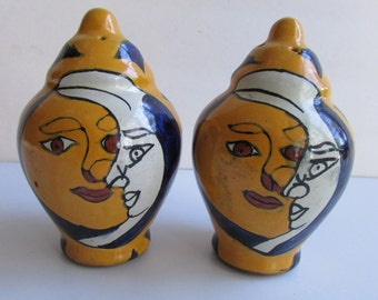 Mexican Pottery Salt & Pepper Sun and Moon