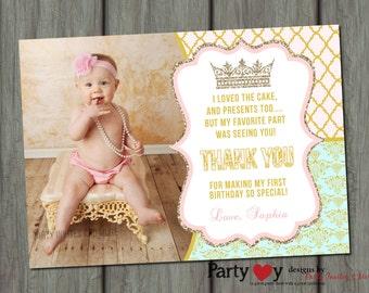 Princess Thank You Card, Chalkboard Thank You Card, Princess Thank You Card, First Birthday Thank You Card, Photo Thank You Card