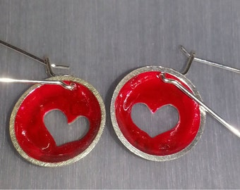 hand made sterling silver heart earrings