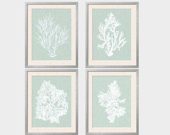 Sage Wall Art, Palladian Blue Art, Sea Foam Green, Coral Print Set, Palladian Blue Wall Art, Bathroom Wall Art, Bedroom Wall Art, Set of 4