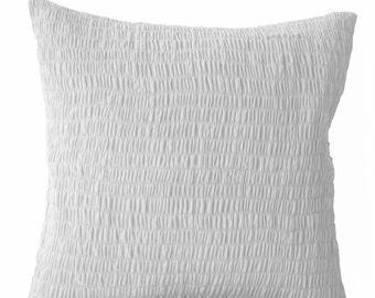 White Euro Sham, White Cotton Voile Pillow, Ruched Pillow Cover, White Cotton Cushion 18x18, Wedding Gift, Housewarming Gift, Free Shipping