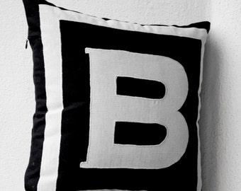 Personalized Monogram Black Pillow- Big letter pillow- Alphabet throw pillow- Customized letter cushion- Black White Cotton pillow- 14x14