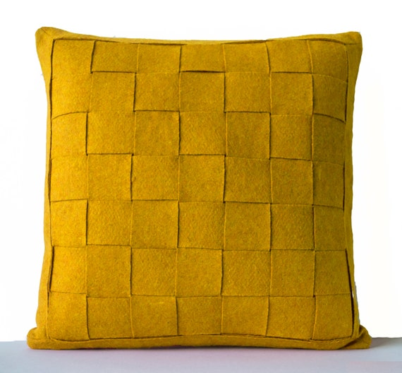 Mustard Throw Pillow Covers : Mustard Pillow Felt Weave Pillows Decorative Throw Pillow