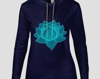 Navy Lotus hoodie womans yoga & gym wear