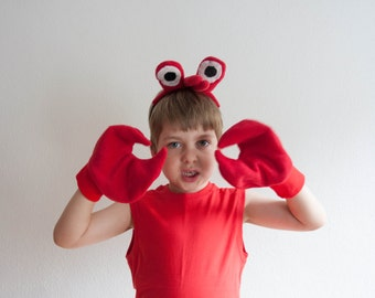 Crab Claws Gloves, Children's or Adult's Photo Prop, Pretend Play, Red