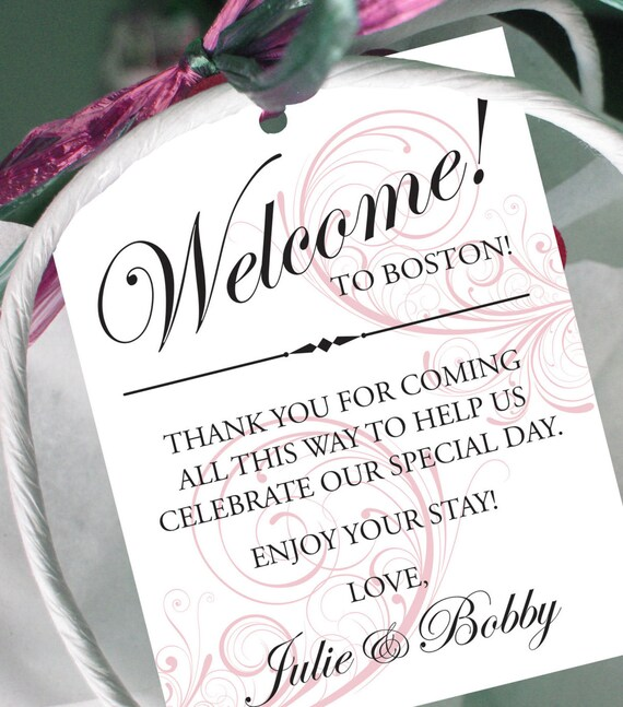 Set Of 10 Swirl Gift Tags For Wedding Hotel Welcome Bag