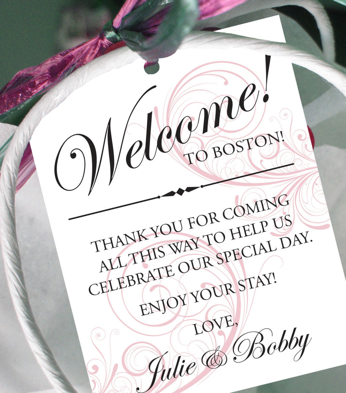 Destination Wedding Gift Ideas: Set Of 10 Swirl Gift Tags For Wedding Hotel Welcome Bag