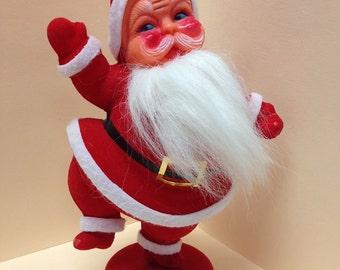 Jolly Rosey-Cheeked Flocked Vintage 50's Santa Kitsch Christmas Retro Holiday Decor