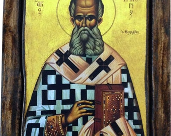 Saint St. Gregory - Orthodox Byzantine icon on wood handmade (22.5 cm x 17 cm)