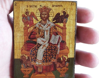 Jesus Christ - Enthroned - Orthodox Byzantine icon on wood (8.4 cm x 6.3 cm)
