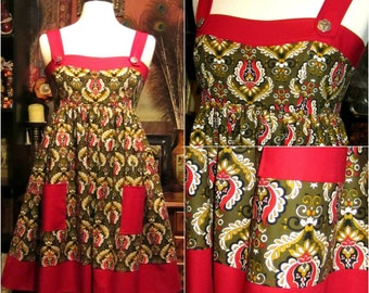 Handmade One of a Kind Red and Olive Calico Print Jumper Dress Only one available! sz s