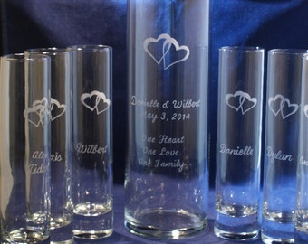 6 Piece Sand Ceremony Set with 10 x 3 Main vase, Engraved Hearts, Free Personalization