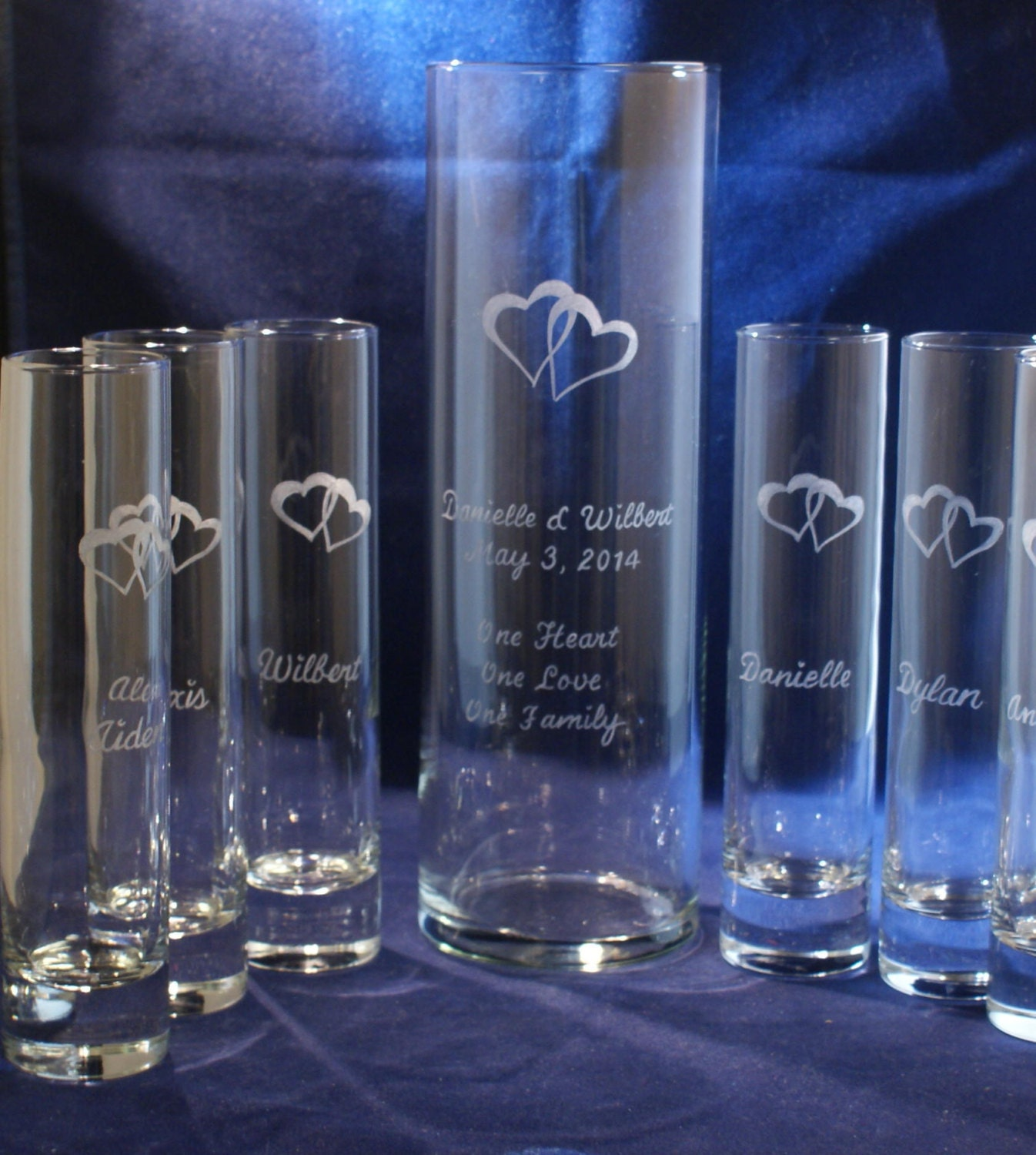 6 Piece Sand Ceremony Set With 10 X 3 Main Vase Engraved