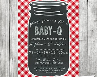 Baby Q Invite | Mason Jar Barbecue Invite | Barbecue Baby Shower |Chalkboard Invite 5x7