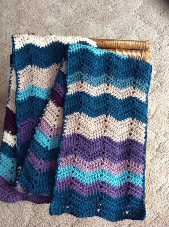 """Crocheted """" Frozen"""" Colors Ripple Scarf/Neckwarmer"""