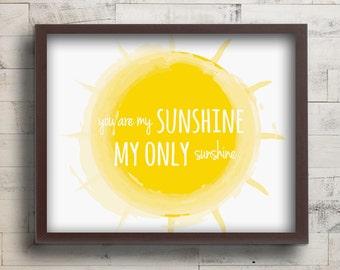 You are My Sunshine Nursery Decor - You Are My Sunshine Prints - Baby Girl Nursery Wall Art Print - Sunshine Lullaby Art - Yellow Nursery