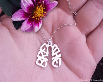 Sterling Silver BREATHE lungs necklace
