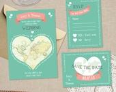DIY Printable Wedding Invitation - Lovely World Wedding Stationery Set - Invite, RSVP & Save The Date - Printable