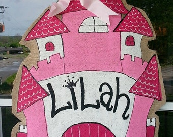 Burlap Princess Castle door hanger with name