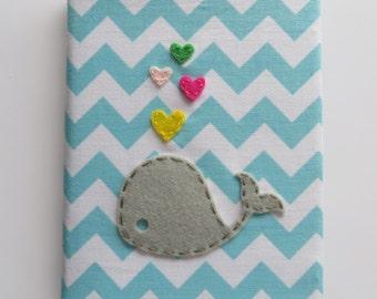 GREY WHALE 4x6 Photo Album: Aqua & White Chevron Fabric, Grey Whale Applique, Multi-Colored Hearts Applique