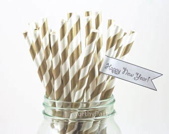 GOLD Striped Spiraled Paper Straws with FREE Printable DIY Flags (25 count)