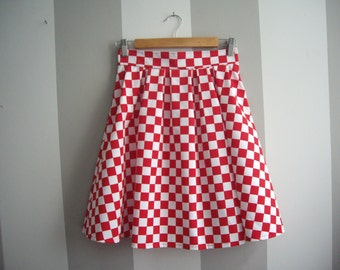 Red Cotton Skirt, Red and White Checkered Skirt, High Waisted Pleated Skirt, Knee Length Skirt, Geometric Print, Made to Order