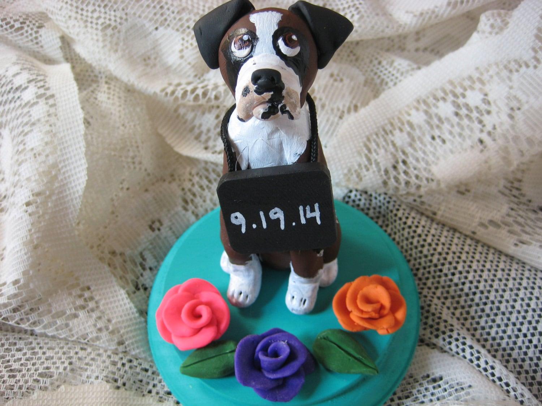Single Boxer Dog Wedding Cake Topper with sign around neck