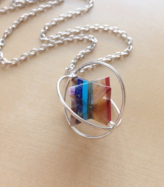 merkaba chakra necklace spinning pendant by bluebuttonbaubles