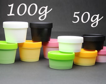 Free shipping - Empty Plastic Jars Pots Containers 50g / 100g White Black Pink Yellow Green