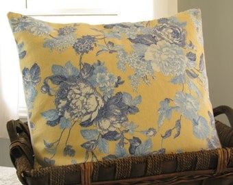 French Country PILLOW COVER Cottage Style Yellow- Off White- Blue Floral [16x16]