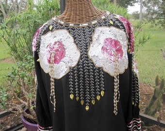 1970's Black and Pink BEADED SEQUINED GOWN