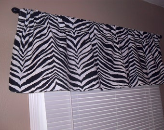 Window Valance, 50W x 15L, Black/White Zebra Print, Home Decor,