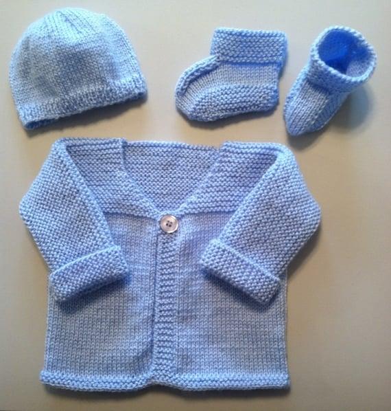0 3 monate hand stricken baby jacke set blau special. Black Bedroom Furniture Sets. Home Design Ideas