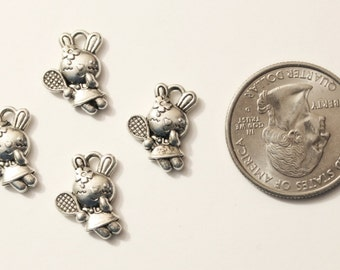 12 Antique Silver Rabbit Tennis Player Charms