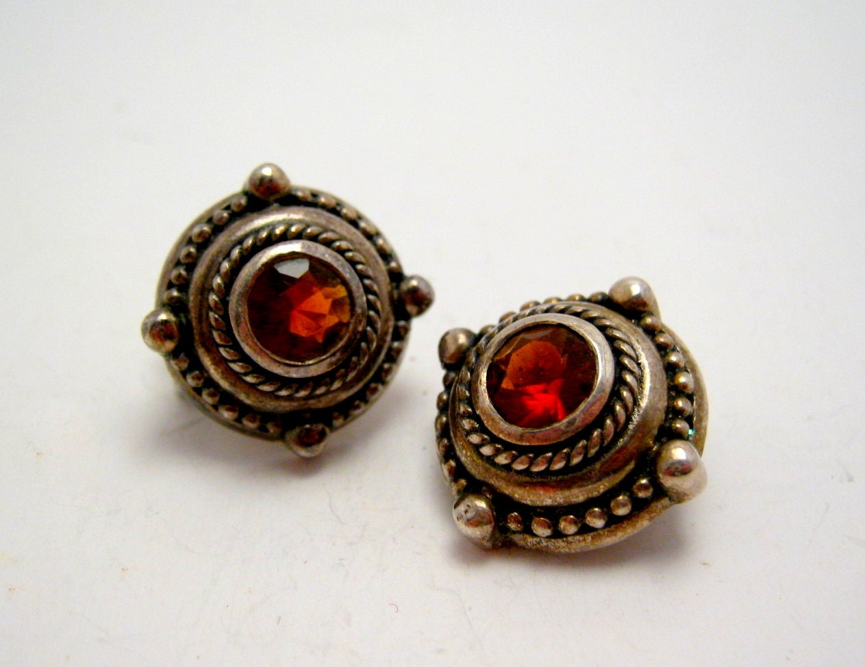 sterling silver and ruby post earrings