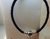 "7.5"" Pandora black leather bracelet"