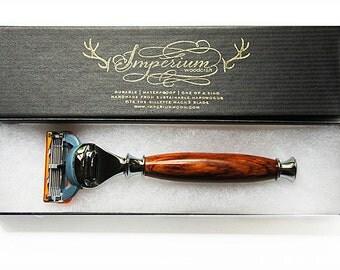 Wood Razor Handle for Gillette FUSION - Shaving Set - Shaving Kit Custom Razor